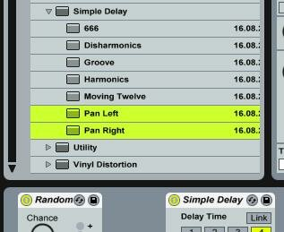 Ableton Live's Simple Delay Haas presets